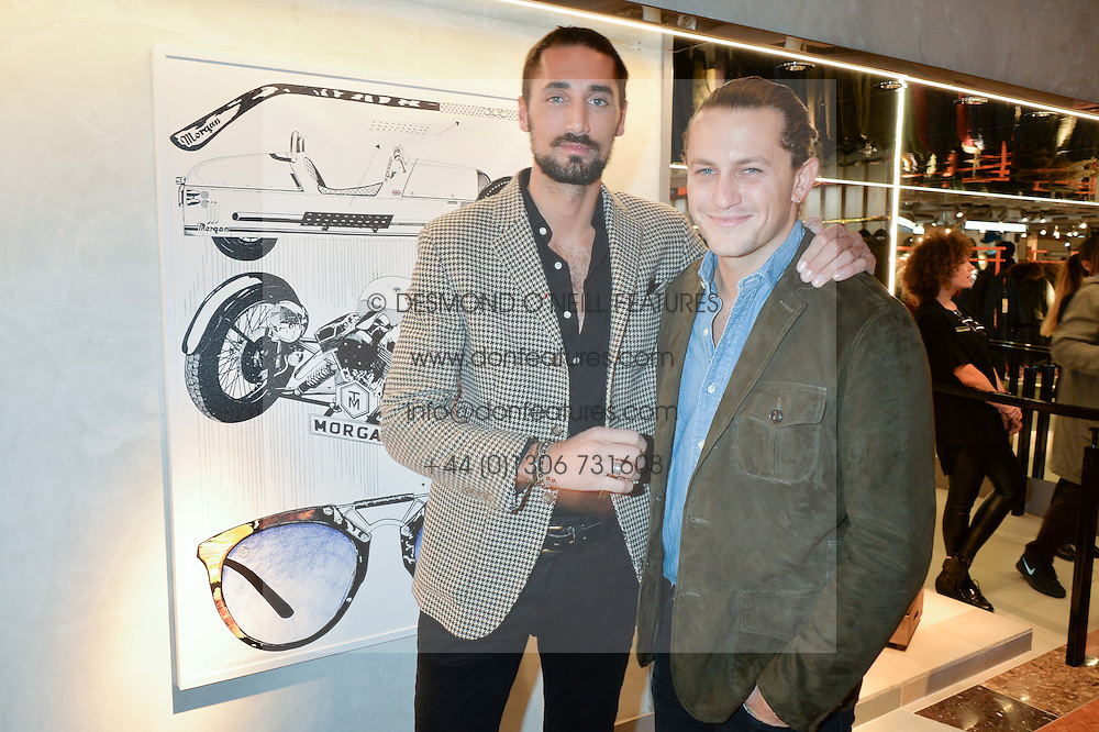 LONDON, ENGLAND 8 DECEMBER 2016: Hugo Taylor, Charlie Morris at a party to celebrate the collaboration of Taylor Morris Eyewear and The Morgan Motor Company held at Harvey Nichols, Knightsbridge, London, England. 8 December 2016.