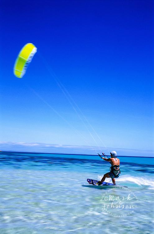 Woman kite surfing, Great Barrier Reef, Queensland, Australia