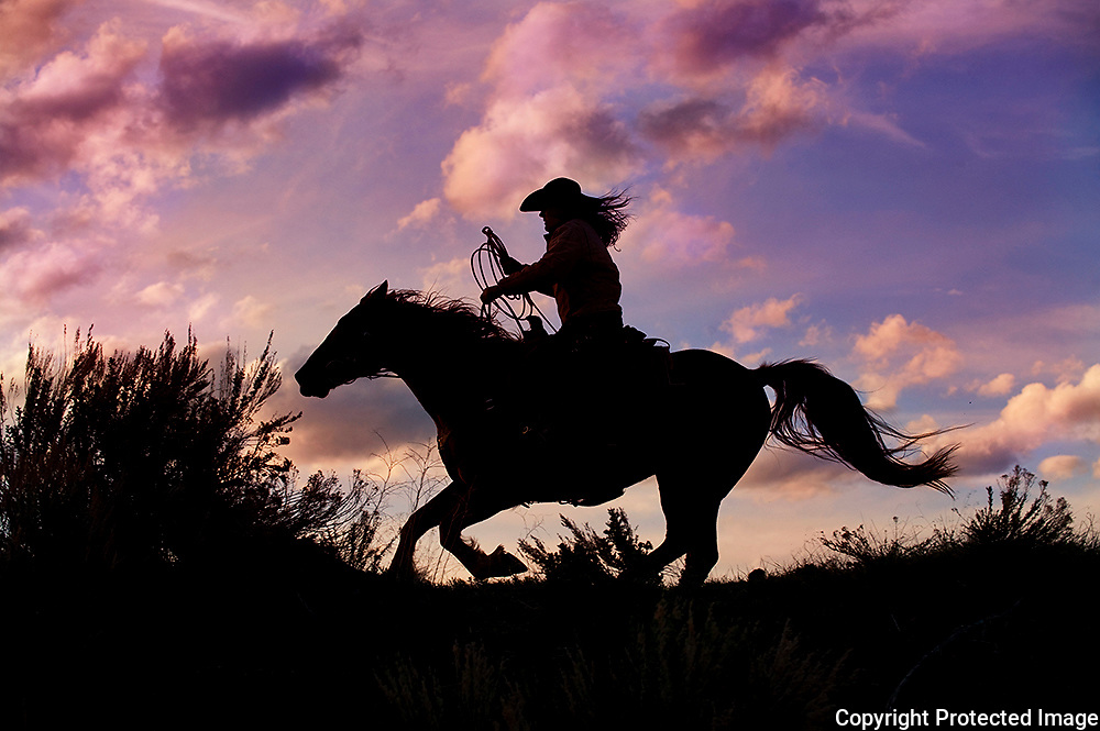 Cowgirl Riding Horse at Sunset