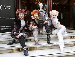 Image licensed to i-Images Picture Agency. 07/07/2014. London, United Kingdom. Cast members from the musical Cats outside the London Palladium to launch the return of the musical for a 12 week limited run from 6th December 2014 Picture by Stephen Lock / i-Images