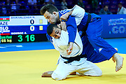 Warsaw, Poland - 2017 April 20: Nijat Shikhalizada from Azerbaijan (white) throws Adrian Gomboc from Slovenia (blue) while the men&rsquo;s 66kg semifinal during European Judo Championships 2017 at Torwar Hall on April 20, 2017 in Warsaw, Poland.<br /> <br /> Mandatory credit:<br /> Photo by &copy; Adam Nurkiewicz / Mediasport<br /> <br /> Adam Nurkiewicz declares that he has no rights to the image of people at the photographs of his authorship.<br /> <br /> Picture also available in RAW (NEF) or TIFF format on special request.<br /> <br /> Any editorial, commercial or promotional use requires written permission from the author of image.