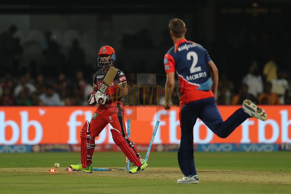 Pawan Negi of the Royal Challengers Bangalore is bowled by Chris Morris of the Delhi Daredevils during match 5 of the Vivo 2017 Indian Premier League between the Royal Challengers Bangalore and the Delhi Daredevils held at the M.Chinnaswamy Stadium in Bangalore, India on the 8th April 2017<br /> <br /> Photo by Ron Gaunt - IPL - Sportzpics