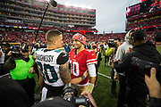 San Francisco 49ers quarterback Jimmy Garoppolo (10) talks with Jacksonville Jaguars tight end James O'Shaughnessy (80) after the San Francisco 49ers win at Levi's Stadium in Santa Clara, Calif., on December 24, 2017. (Stan Olszewski/Special to S.F. Examiner)