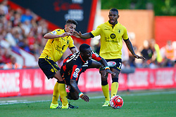 Max Gradel of AFC Bournemouth is tackled by Ashley Westwood of Aston Villa - Mandatory by-line: Jason Brown/JMP - Mobile 07966 386802 08/08/2015 - FOOTBALL - Bournemouth, Vitality Stadium - AFC Bournemouth v Aston Villa - Barclays Premier League - Season opener