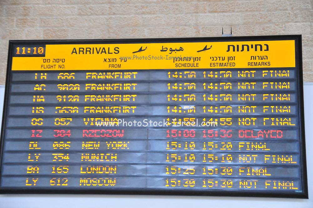 Israel, Ben-Gurion international Airport, Terminal 3, arrival schedule board