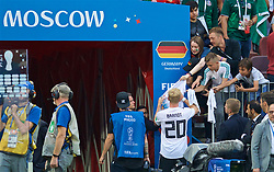 MOSCOW, RUSSIA - Sunday, June 17, 2018: Germany's Julian Brandt signs autographs for supporters after the FIFA World Cup Russia 2018 Group F match between Germany and Mexico at the Luzhniki Stadium. (Pic by David Rawcliffe/Propaganda)