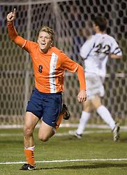 Virginia's Adam Cristman (8) reacts after scoring a goal against Norte Dame in the 2006 NCAA Men's Soccer Tournament held at Klockner Stadium in Charlottesville, VA on November 24, 2006.