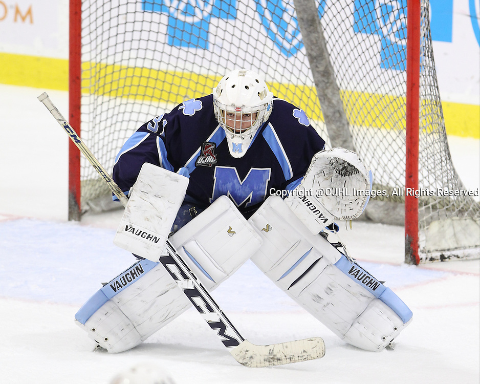 BUFFALO, ON - Sep 23, 2015 : Ontario Junior Hockey League game action between Trenton and St. Michael's at the Showcase. Saint Michael&rsquo;s Buzzers Goaltender<br /> follows the play during the first period.<br /> (Photo by Tim Bates / OJHL Images)