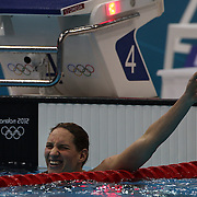 Camille Muffat, France, winning the Gold medal in the Women's 400m Freestyle Final at the Aquatic Centre at Olympic Park, Stratford during the London 2012 Olympic games. London, UK. 29th July 2012. Photo Tim Clayton