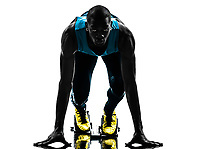 one african man runner sprinter on starting blocks in silhouette studio isolated on white background