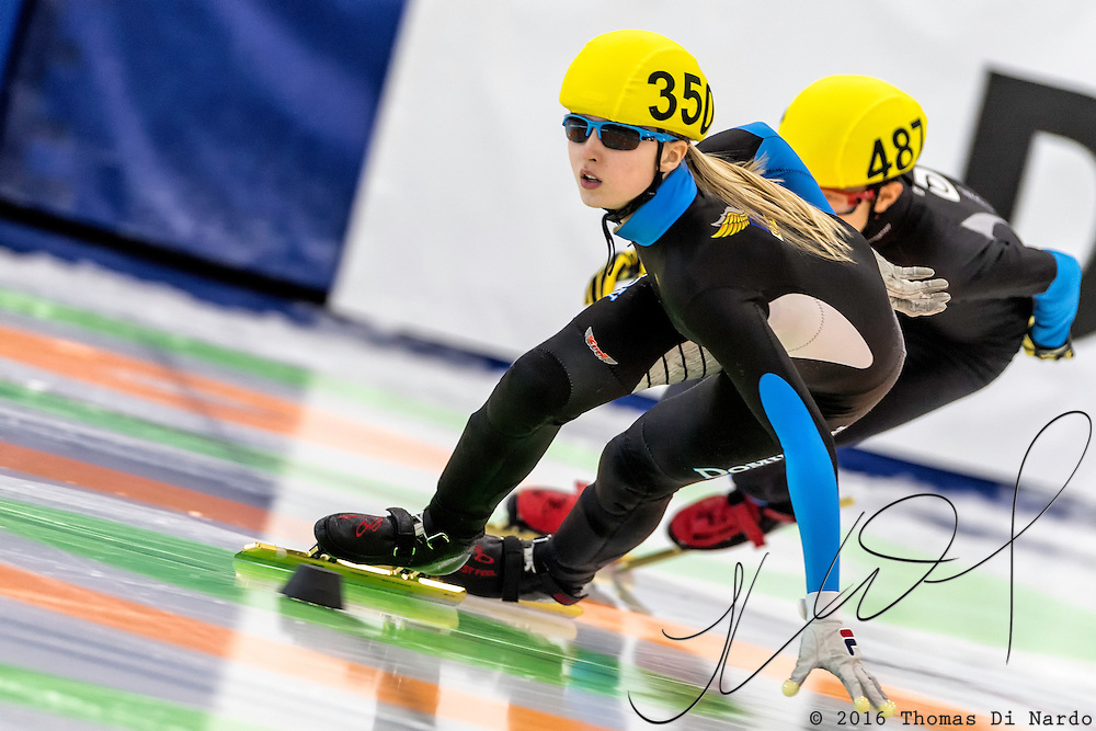 December 17, 2016 - Kearns, UT - Kamryn Lute skates during US Speedskating Short Track Junior Nationals and Winter Challenge Short Track Speed Skating competition at the Utah Olympic Oval.