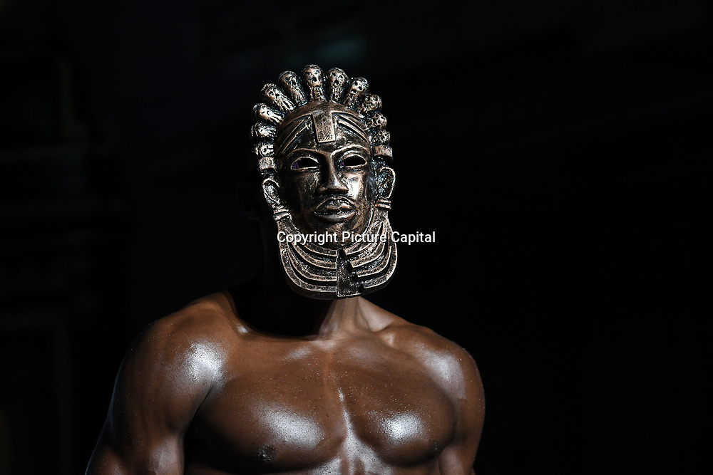 Designer Jesu Segun London showcases its latest collection at the Africa Fashion Week London (AFWL) at Freemasons' Hall on 11 August 2018, London, UK.
