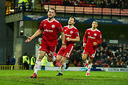 Accrington Stanley Forward Billy Kee (29) celebrates as he scores a goal from a penalty 0-1 during the EFL Sky Bet League 2 match between Grimsby Town FC and Accrington Stanley at Blundell Park, Grimsby, United Kingdom on 30 December 2017. Photo by Craig Zadoroznyj.