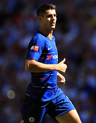 "Chelsea's Alvaro Morata during the Community Shield match at Wembley Stadium, London. PRESS ASSOCIATION Photo. Picture date: Sunday August 5, 2018. See PA story SOCCER Community Shield. Photo credit should read: Adam Davy/PA Wire. RESTRICTIONS: EDITORIAL USE ONLY No use with unauthorised audio, video, data, fixture lists, club/league logos or ""live"" services. Online in-match use limited to 75 images, no video emulation. No use in betting, games or single club/league/player publications."