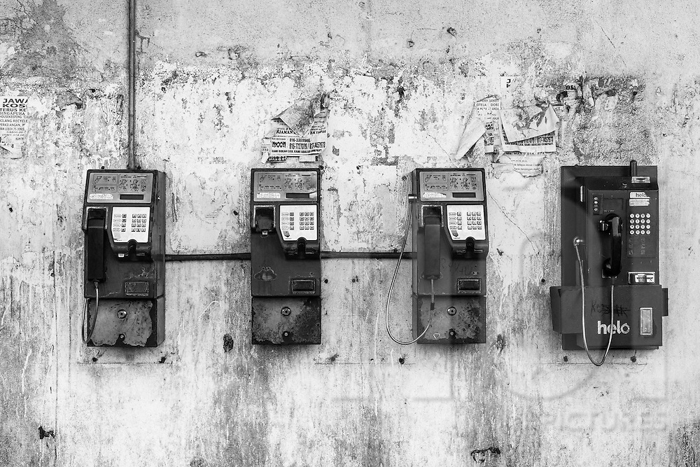 Payphones in Semporna, Sabah, Borneo, Malaysia, Southeast Asia.