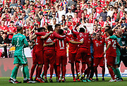 Arjen ROBBEN, Bayern Munich's Dutch midfielder during the Bundesliga match vs Frankfurt, celebration of the whole team after scooring the 5:1 - <br /> MUNICH, 18. MAY 2019,  Fc BAYERN vs Eintracht FRANKFURT, 5:1 - Bundesliga Football Match, <br /> FcBayern Muenchen vs Eintracht FRANKFURT Bundesliga match at Allianz Arena on 18.05.2019, DFL REGULATIONS PROHIBIT ANY USE OF PHOTOGRAPHS AS IMAGE SEQUENCES AND/OR QUASI-VIDEO - fee liable image, <br /> copyright &copy; ATP / Arthur THILL