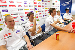 Andrej Sporn, Andrej Jerman, Rok Perko, Andrej Krizaj and Gasper Markic during press conference of Slovenian Men Alpine Ski Team, on August 22, 2011, in SZS, Ljubljana, Slovenia. (Photo by Vid Ponikvar / Sportida)