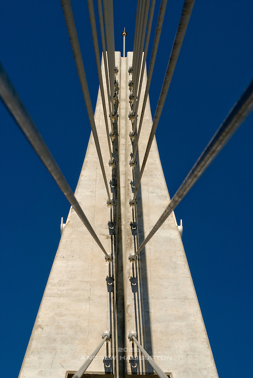 Rio Fuengirola Pedestrian Bridge.  Cable-stayed, reinforced concrete footbridge completed in 2006.