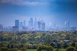 As rain clears away to the north, the skyline of London is revealed as seen from Redbridge Cycling Centre in east London. London, May 02 2018.