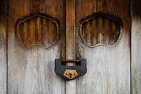 Weathered Wood Door and Old Lock