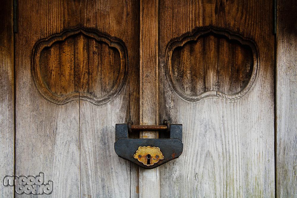 Weathered Wood Door and Old Lock