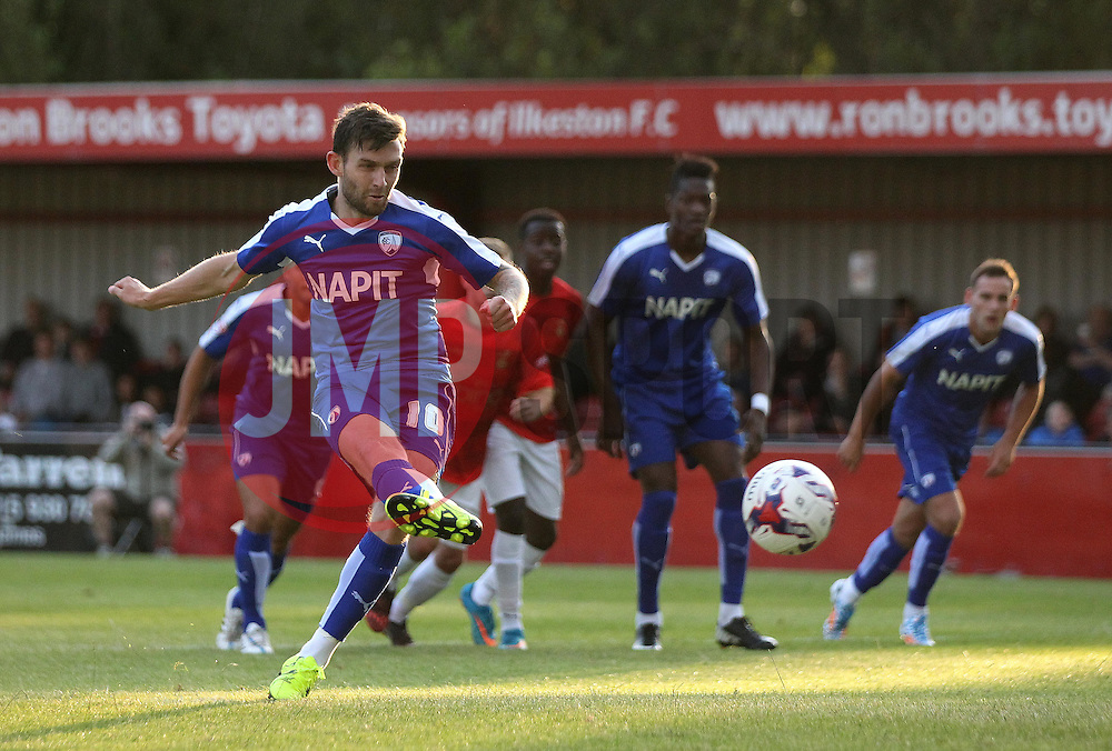Chesterfield's Jay O'Shea scores a penalty - Mandatory by-line: Robbie Stephenson/JMP - 07966386802 - 28/07/2015 - SPORT - FOOTBALL - Ilkeston,England - New Manor Ground - Ilkeston FC v Chesterfield FC - Pre-Season Friendly