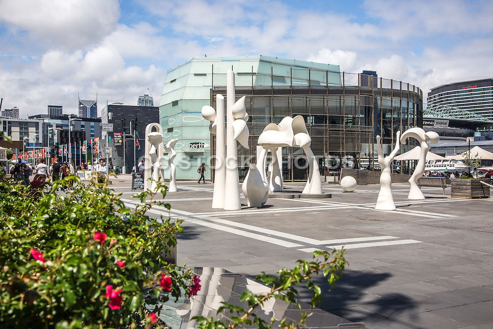 Modern White Sculptures on the New Quay Promenade Boardwalk at Melbourne Waterfront City