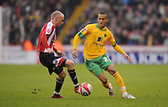 Sheffield - Saturday January 9th, 2009: David Cotterill of Sheffield United and Ryan Bertrand of Norwich City during the Coca Cola Championship match at Bramall Lane, Sheffield. (Pic by Alex Broadway/Focus Images)