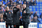 Leeds United manager Paul Heckingbottom talking with the fourth official after a penalty appeal during the EFL Sky Bet Championship match between Reading and Leeds United at the Madejski Stadium, Reading, England on 10 March 2018. Picture by Graham Hunt.