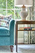 Stamford home, living room vignette. Interior design by Jeffrey Kilmer Design.