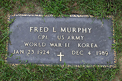 31 August 2017:   Veterans graves in Park Hill Cemetery in eastern McLean County.<br /> <br /> Fred L Murphy  Corporal US Army  World War II  Korea  Jan 23 1924  Dec 4 1989