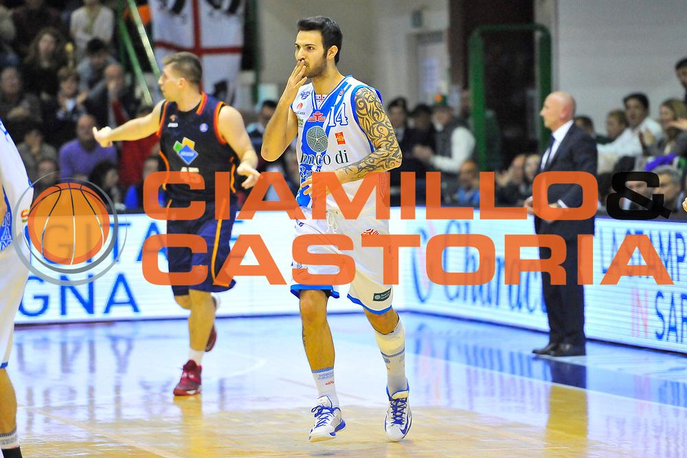 DESCRIZIONE : Campionato 2013/14 Dinamo Banco di Sardegna Sassari - Acea Virtus Roma<br /> GIOCATORE : Brian Sacchetti<br /> CATEGORIA : Ritratto Esultanza Bacio<br /> SQUADRA : Dinamo Banco di Sardegna Sassari<br /> EVENTO : LegaBasket Serie A Beko 2013/2014<br /> GARA : Dinamo Banco di Sardegna Sassari - Acea Virtus Roma<br /> DATA : 19/04/2014<br /> SPORT : Pallacanestro <br /> AUTORE : Agenzia Ciamillo-Castoria / Luigi Canu<br /> Galleria : LegaBasket Serie A Beko 2013/2014<br /> Fotonotizia : Campionato 2013/14 Dinamo Banco di Sardegna Sassari - Acea Virtus Roma<br /> Predefinita :