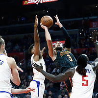 08 January 2018: Atlanta Hawks guard Marco Belinelli (3) goes for the layup past LA Clippers guard Tyrone Wallace (12) during the LA Clippers 108-107 victory over the Atlanta Hawks, at the Staples Center, Los Angeles, California, USA.