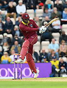 Ashley Nurse of West Indies attacks the bowling during the One Day International match between England and West Indies at the Ageas Bowl, Southampton, United Kingdom on 29 September 2017. Photo by Graham Hunt.