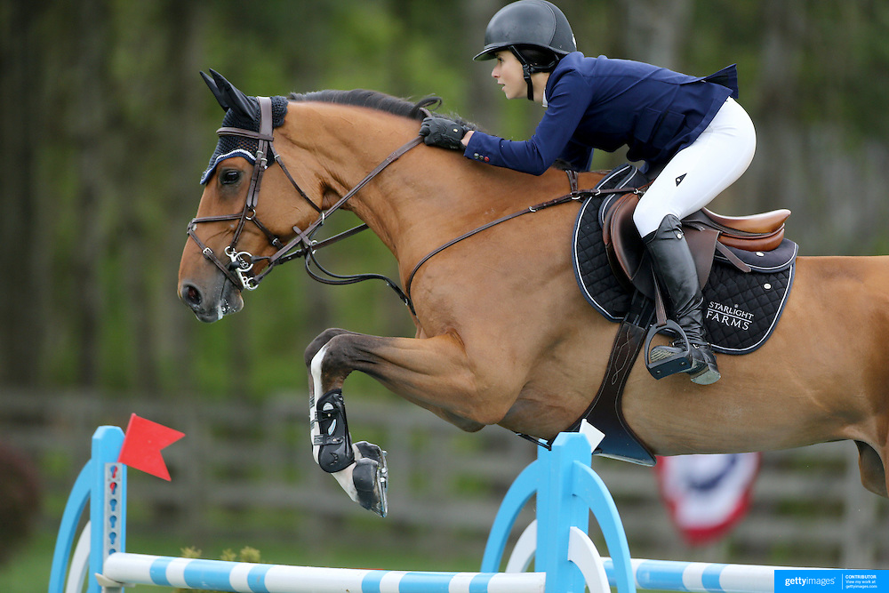 NORTH SALEM, NEW YORK - May 15: Adrienne Sternlicht, USA, riding Helios, in action during The $50,000 Old Salem Farm Grand Prix presented by The Kincade Group at the Old Salem Farm Spring Horse Show on May 15, 2016 in North Salem. (Photo by Tim Clayton/Corbis via Getty Images)