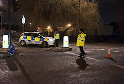 © Licensed to London News Pictures. 24/01/2016. Bristol, UK.  The bodies of two people have been located following an incident shortly before 6pm when a car, driving from the direction of Short Street, failed to stop on Feeder Road and drove into the canal. Photo credit : Simon Chapman/LNP