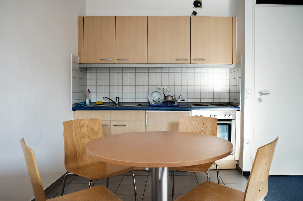 Munich, Germany. A kitchen at 31 of Connollystrasse. The building where on 5 September 1972 a group of Palestinan terrorists, called Black September, took in hostage the Israeli team. Part of the building is property of Max-Planck-Institut fur Physik who rent the apartments to his researchers.
