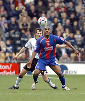 Photo: Leigh Quinnell.<br /> Derby County v Crystal Palace. Coca Cola Championship. 25/03/2006. Palaces' Clinton  Morrison brings the ball down.
