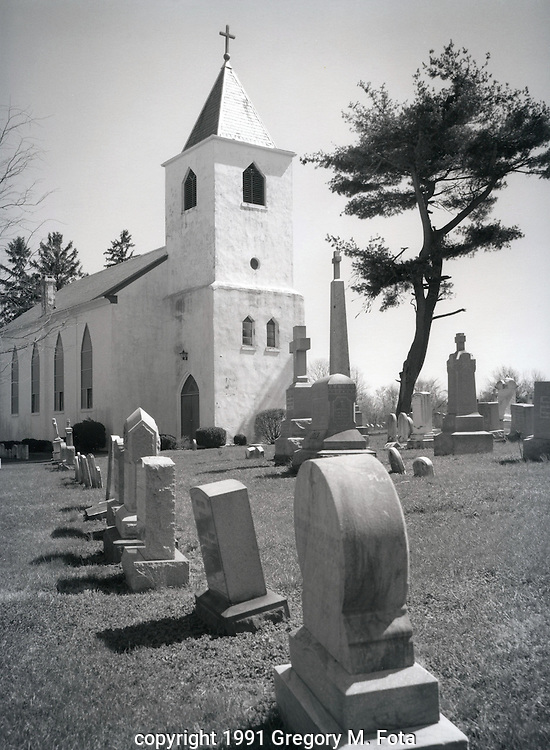 St. John the Baptist- Catholic Church,Ottsville,PA. Built in 1743. .Available for purchase as limited silver gelatin print on semi-matte paper. 11x14 inches. Copyright 1991 Gregory M. Fota.
