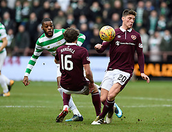 Celtic's Olivier Ntcham, Hearts Connor Randall and Hearts Ross Callaghan during the Ladbrokes Scottish Premiership match at Tynecastle Stadium, Edinburgh.