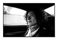 Yasmine Kherbache in de auto op weg naar Willebroek om nog meer campagne te voeren