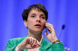 30.04.2016, Messe, Stuttgart, GER, 5. Bundesparteitag der AfD, im Bild Dr. Frauke Petry Vorsitzende der AFD // during the 5th party convention of the Alternative for Germany (AfD) at the Messe in Stuttgart, Germany on 2016/04/30. EXPA Pictures © 2016, PhotoCredit: EXPA/ Sammy Minkoff<br /> <br /> *****ATTENTION - OUT of GER*****