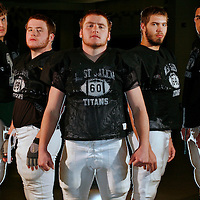 West Salem offensive linemen Carl Kreitzberg (from left), Connor Kryskalla, Scott Kryskalla, Jacob Norton and Trent Gallegos have been key to the success for the Titans. Photographed on Wednesday, Dec. 2, 2009.