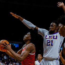 Jan 13, 2018; Baton Rouge, LA, USA; Alabama Crimson Tide guard Collin Sexton (2) is defended by LSU Tigers forward Aaron Epps (21) during the first half at the Pete Maravich Assembly Center. Mandatory Credit: Derick E. Hingle-USA TODAY Sports