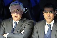 Real Madrid´s coach Carlo Ancelotti and second coach Fernando Hierro during 2014-15 La Liga match between Real Madrid and Malaga at Santiago Bernabeu stadium in Madrid, Spain. April 18, 2015. (ALTERPHOTOS/Luis Fernandez)
