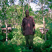 Abubakara Mugaba (age 30) with his bee hives. He has been living on his farm for 2 years; he trained with Kulika in Sustainable organic agriculture. He grows sweet potato, cassava, and bananas to feed his wife and six children.