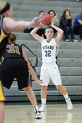 12 December 2015:  Samantha Ellsworth during an NCAA women's basketball game between the Wisconsin Stevens Point Pointers and the Illinois Wesleyan Titans in Shirk Center, Bloomington IL