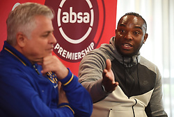 Cape Town-180913- .Cape Town City FC head coach Benni McCarthy being interviewed by psl head of communications Lux September about the upcoming game against Kaizer Chiefs.This was during the Woza nazo Absa premiership press conference at the Raddison Red in Waterfront.Photographs:Phando Jikelo/African News Agency/ANA