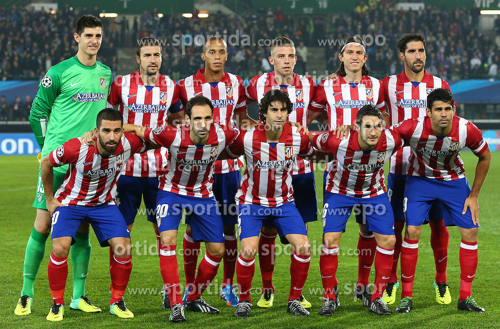 22.10.2013, Ernst Happel Stadion, AUT, UEFA Champions League, FK Austria Wien vs Atletico Madrid, Gruppe G, im Bild Mannschaftsfoto Madrid mit Thibaut Courtois, (Atletico Madrid, #13), Filipe Kasmirski, (Atletico Madrid, #3), Tiago Cardoso Mendes, (Atletico Madrid, #5), Jorge Resurreccion Merodio, (Atletico Madrid, #6), Raul Garcia Escudero, (Atletico Madrid, #8), Arda Turan, (Atletico Madrid, #10), Toby Albertine Maurits Alderweireld, (Atletico Madrid, #12), Arenas Gabriel Fernandez, (Atletico Madrid, #14), Costa Diego Da Silva, (Atletico Madrid, #19), Velen Juan Francisco Torres, (Atletico Madrid, #20) und Filho Joao Miranda de Souza, (Atletico Madrid, #23) // during the UEFA Champions League group G match between FK Austria Vienna and Club Atletico de Madrid at the Ernst Happel Stadion in Vienna, Austria on 2013/10/22. EXPA Pictures © 2013, PhotoCredit: EXPA/ Thomas Haumer