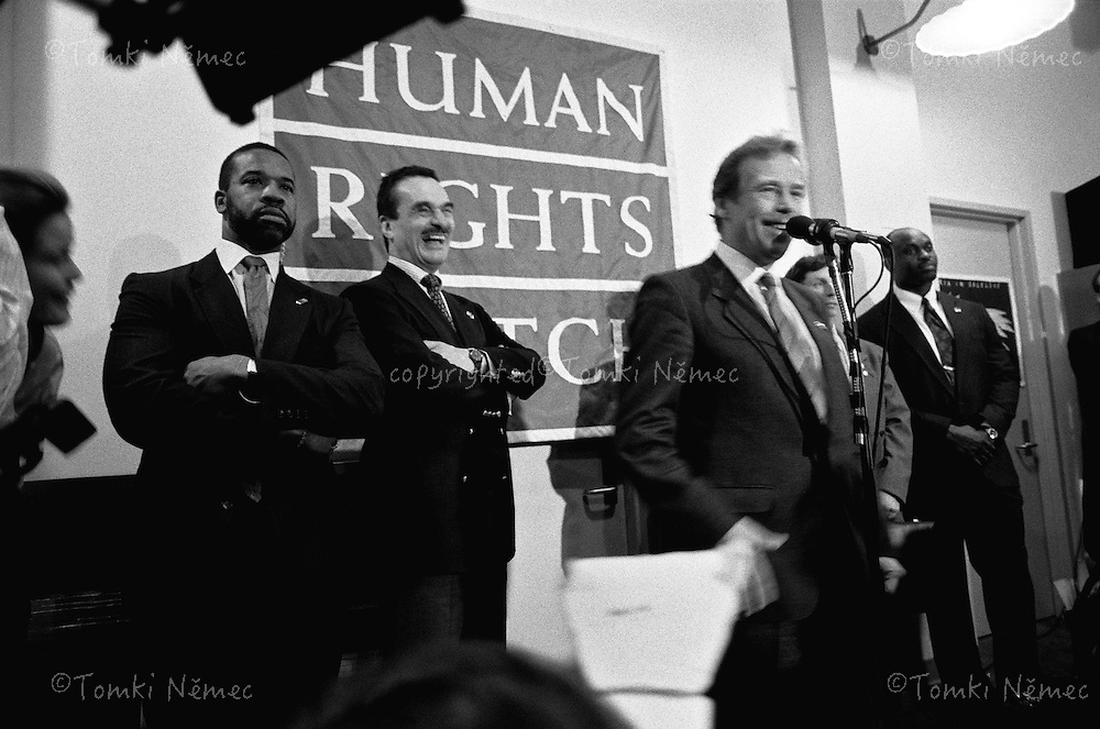 USA,New York,1990 February - President Vaclav Havel and chancellor Karel Schwarzenberg on the press conference in the Human Rights Watch office.